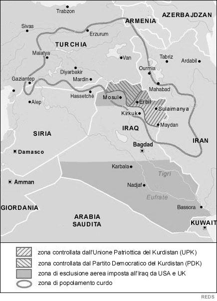 Cartina Kurdistan.Mappa Del Kurdistan