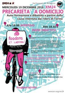 Precarietà a domicilio: autoformazione e dibattito a partire dalla causa intentata dai riders di Torino @ Xm24